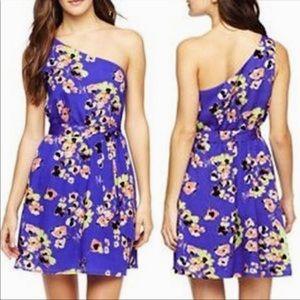 Mac & Jac purple floral one shoulder dress small